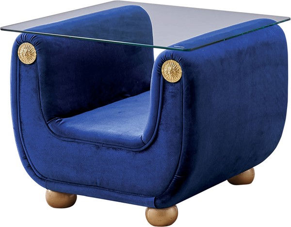 ESF Extravaganza Giza Blue Fabric End Table ESF-i17700