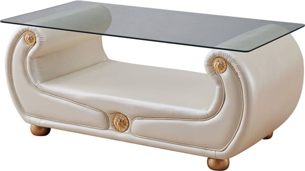 ESF Extravaganza Giza Beige Leather Coffee Table ESF-i17697