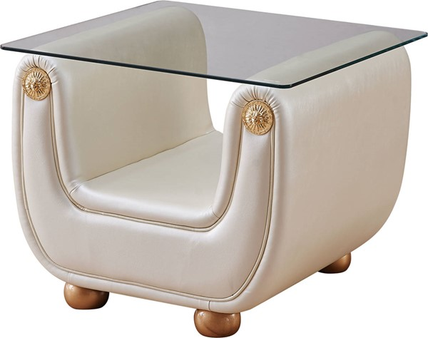 ESF Extravaganza Giza Beige Leather End Table ESF-i17698