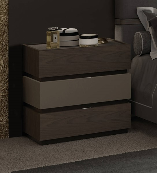 ESF Garcia Sabate Spain Leo Walnut Grafito 3 Drawers Nightstand ESF-i21670