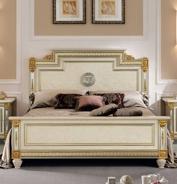 ESF Arredoclassic Italy Liberty Ivory Euro Queen Bed ESF-i5292