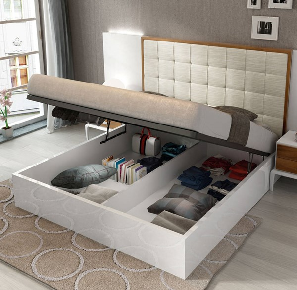 ESF Fenicia Spain Malaga White Brown Storage Beds ESF-i1782-SBED