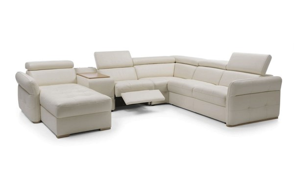 ESF Galla Poland Light Beige Leather Solid Wood Massimo Sectional ESF-i21787