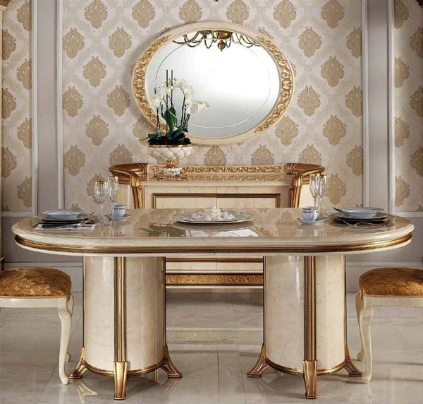 ESF Arredoclassic Italy Melodia Ivory 1 Extension Oval Dining Table ESF-i11522