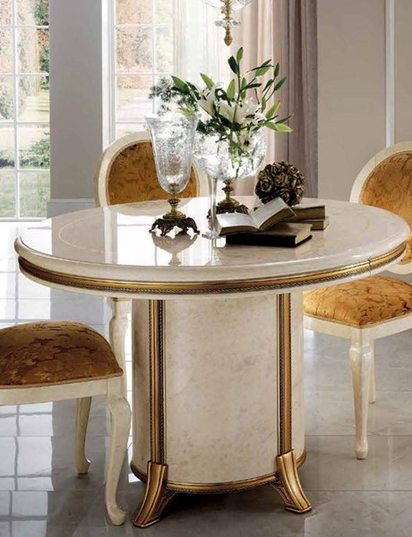 ESF Arredoclassic Italy Melodia Ivory 1 Extension Round Dining Table ESF-i11524