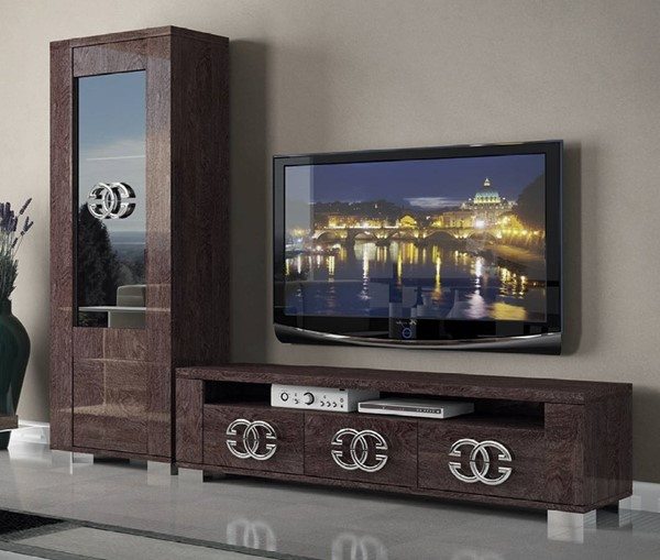 ESF Status Italy Walnut Entertainment Center Wall with 3 Door TV Stand ESF-p6977-ENT-S1