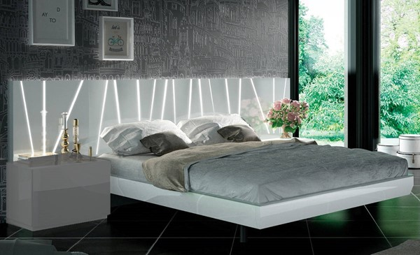ESF Fenicia Spain Ronda White Light Grey Wood Beds with Slat Frame ESF-i2217-BED-VAR