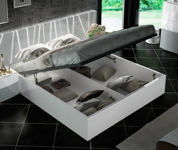 ESF Fenicia Spain Ronda White Light Grey Queen Storage Bed ESF-i22203