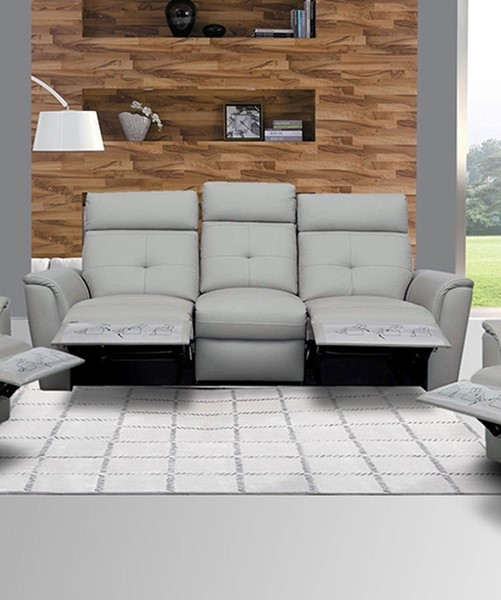 ESF Extravaganza 8501 Light Grey Leather Recliner Sofa ESF-i10840