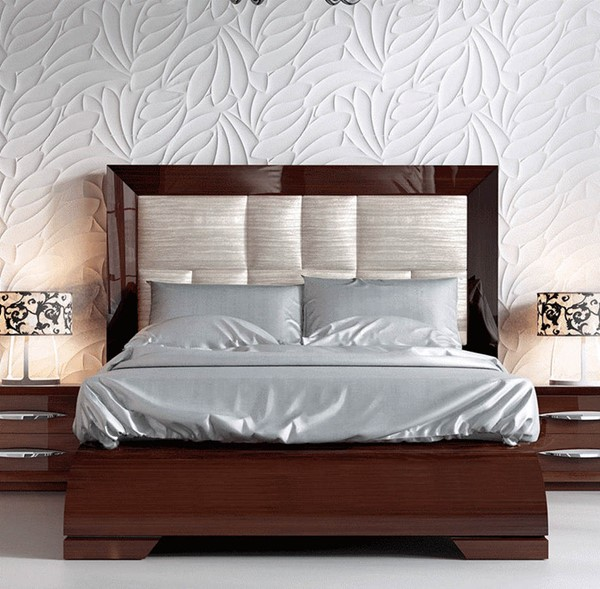 ESF Franco Spain Carmen 1014 Walnut Leather King Bed ESF-i11320