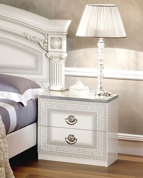 ESF Camelgroup Italy Aida White Silver Night Stand ESF-i13345