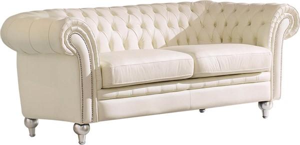 ESF SWH Classic Living 287 Ivory 3 Seat Leather Sofa ESF-i17685