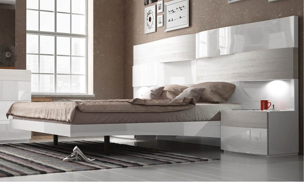 ESF Fenicia Spain Cordoba White Gloss Queen Bed ESF-i17807