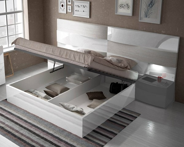 ESF Fenicia Spain Cordoba White Gloss Queen Storage Bed ESF-i17816