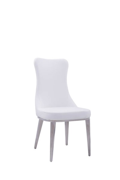 2 ESF Extravaganza 6138 White Leather Side Chairs ESF-i17847