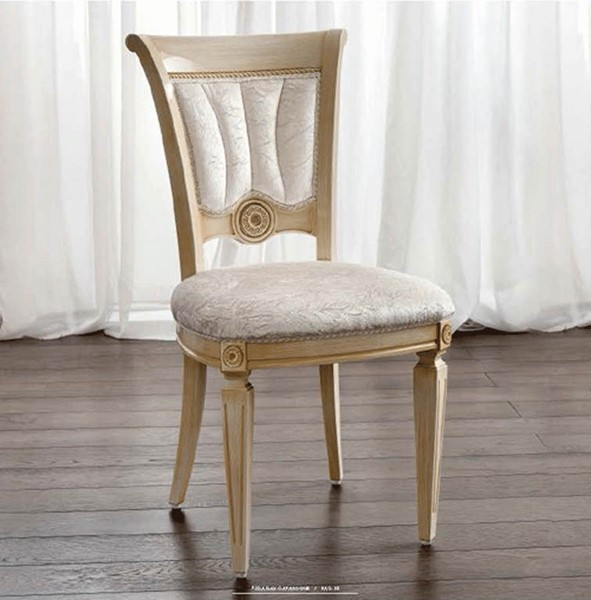 2 ESF Camelgroup Italy Aida Ivory Wood Gold Side Chairs ESF-i18635