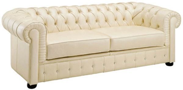 ESF SWH Classic Living 258 Ivory Leather Sofa ESF-i2023
