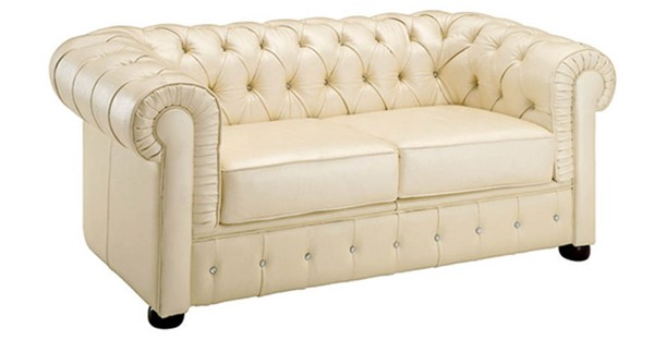 ESF SWH Classic Living 258 Ivory Leather Loveseat ESF-i2024
