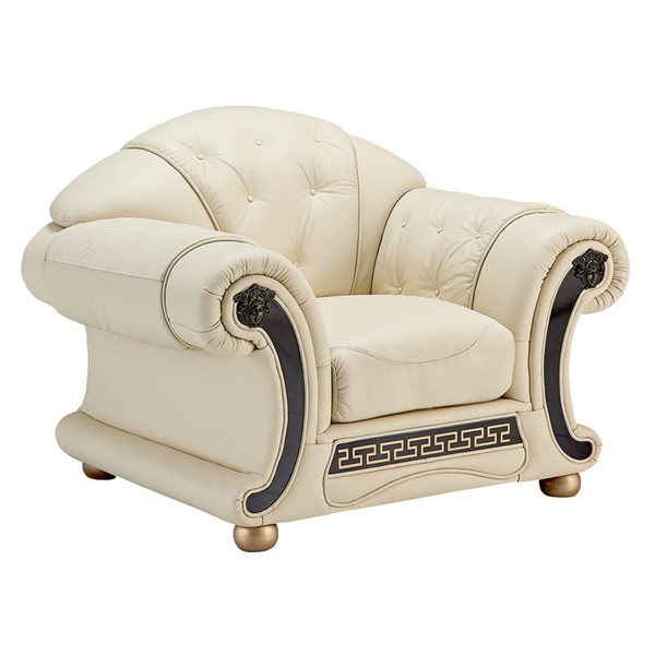 ESF SWH Classic Living Apolo Beige Leather Chair ESF-i20863