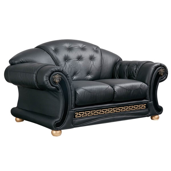 ESF SWH Classic Living Apolo Black Leather Loveseat ESF-i20868