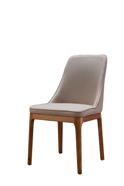 2 ESF Extravaganza 1711 Beige Walnut Fabric Dining Chairs ESF-i21857