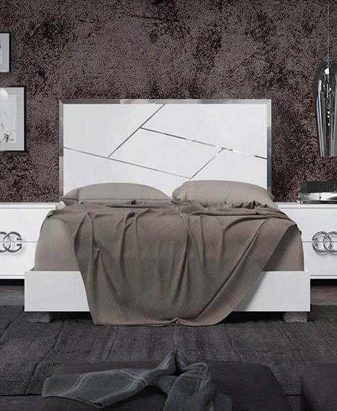 ESF Status Italy Dafne White Gloss Beds with Slat Frame ESF-i22208-BEDS-VAR
