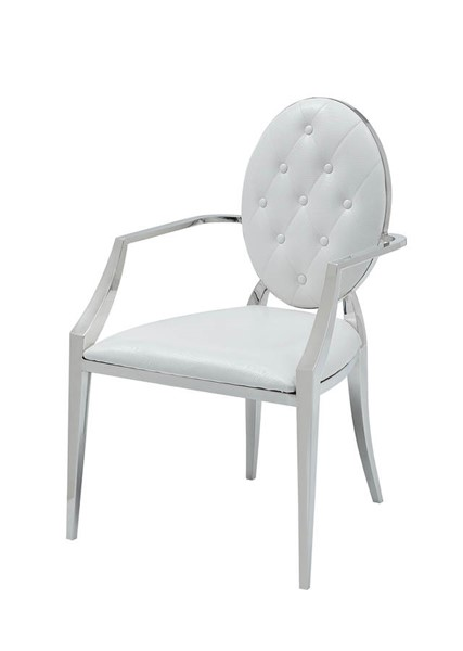 2 ESF Extravaganza 110 White Leather Arm Chairs ESF-i22227