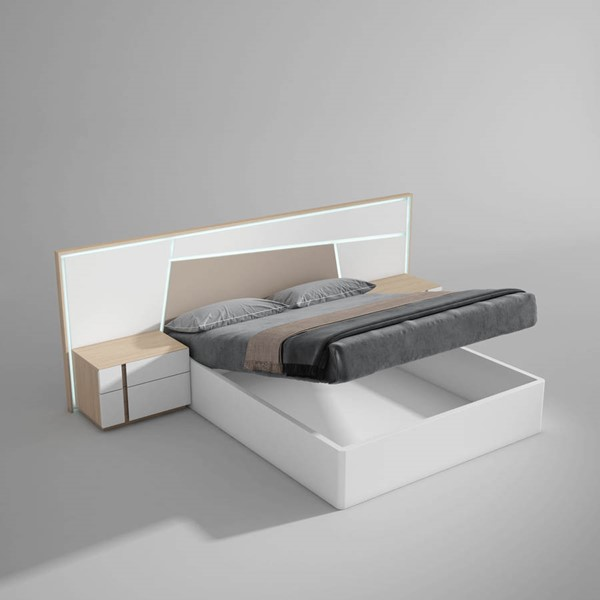 ESF Garcia Sabate Spain Anna White Natural Queen Storage Bed ESF-i22313