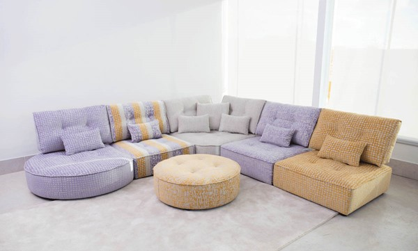 ESF European Ariel Tufted Seat Sectional with Ottoman ESF-i22380