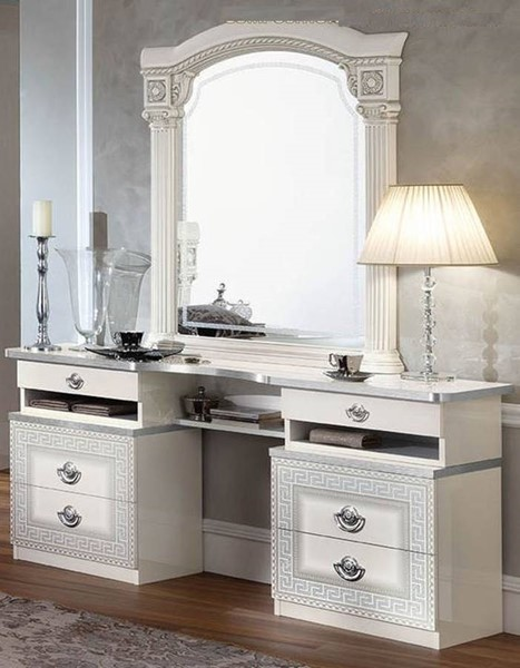 ESF Camelgroup Italy Aida White Silver Vanity Dresser and Mirror ESF-i22895-VNTY-S1