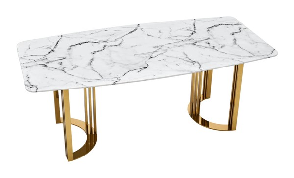 ESF Extravaganza 131 Gloss White Gold Dining Table ESF-i23780