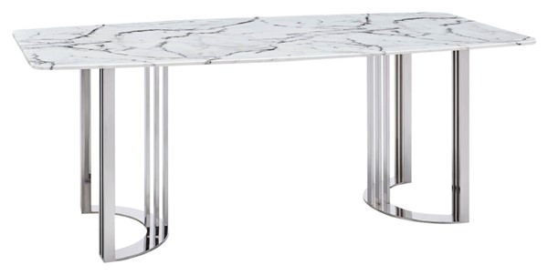ESF Extravaganza 131 White Silver Dining Table ESF-i23783