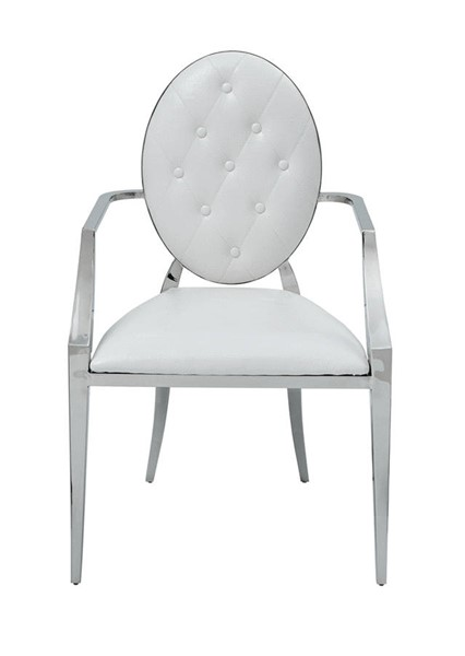 2 ESF Extravaganza 110 White Leather Dining Arm Chairs ESF-i25535