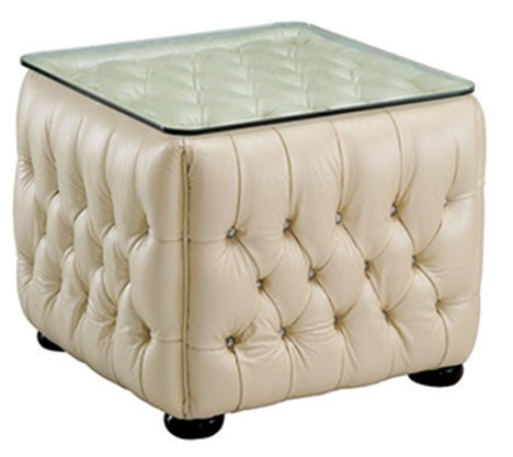 ESF Extravaganza 258 Ivory Leather End Table ESF-i2720