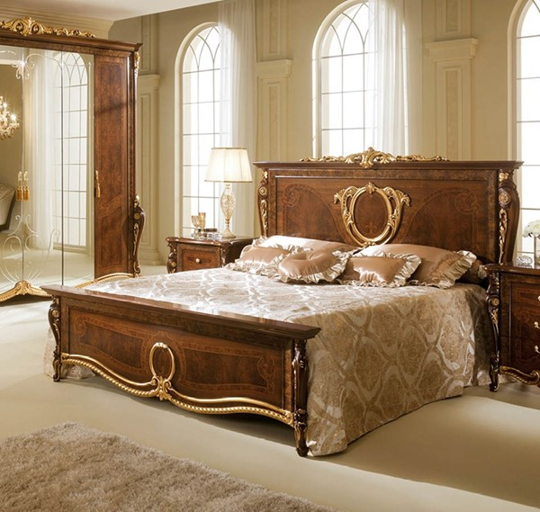 ESF Arredoclassic Italy Donatello Walnut Queen Bed ESF-i5258