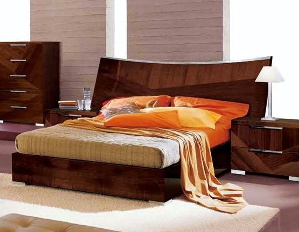 ESF ALF Group Italy Cindy Gloss Walnut King Bed with Wooden Slat ESF-i531
