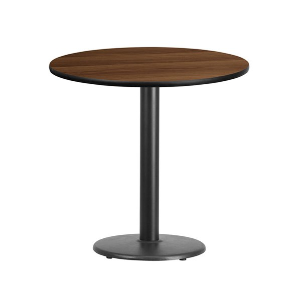 Flash Furniture 30 Inch Round Walnut Laminate Table Top with Table Height Base FLF-XU-RD-30-WALTB-TR18-GG