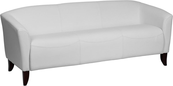 Hercules Imperial Series Contemporary White Leather Cherry Legs Sofa FLF-111-3-WH-GG