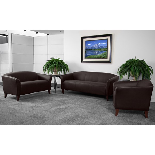 Hercules Imperial Contemporary Brown Leather Wood 3pc Living Room Set FLF-111-BN-Set