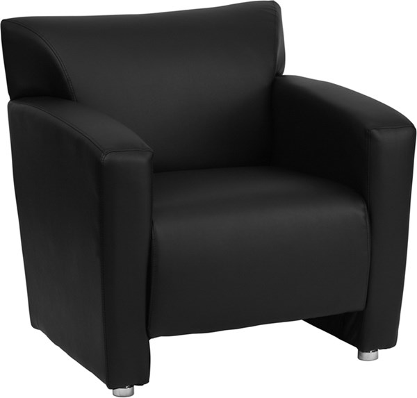 Hercules Majesty Series Black Leather Chrome Chair FLF-222-1-BK-GG