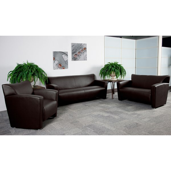 Hercules Majesty Series Brown Aluminum Leather 3pc Living Room Set FLF-222-BN-set