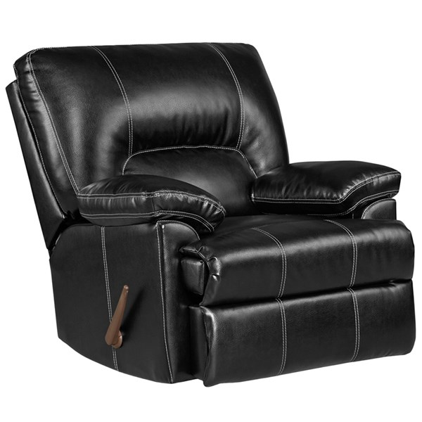 Taos Black Leather PU Steel Wood Rocker Recliner FLF-2800TAOSBLACK-GG