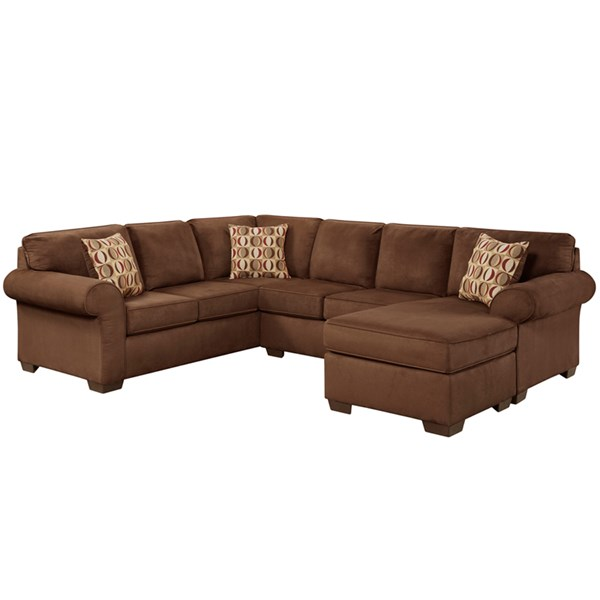 Patriot Chocolate Microfiber Polyester Wood U-Shaped Sectional FLF-3050SECPATRIOTCHOCOLATE-GG