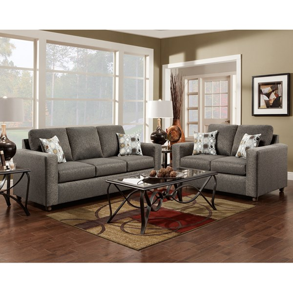 Vivid Gray Fabric Olefin Polyester Wood Living Room Set FLF-3603-ONYX-GG-LR
