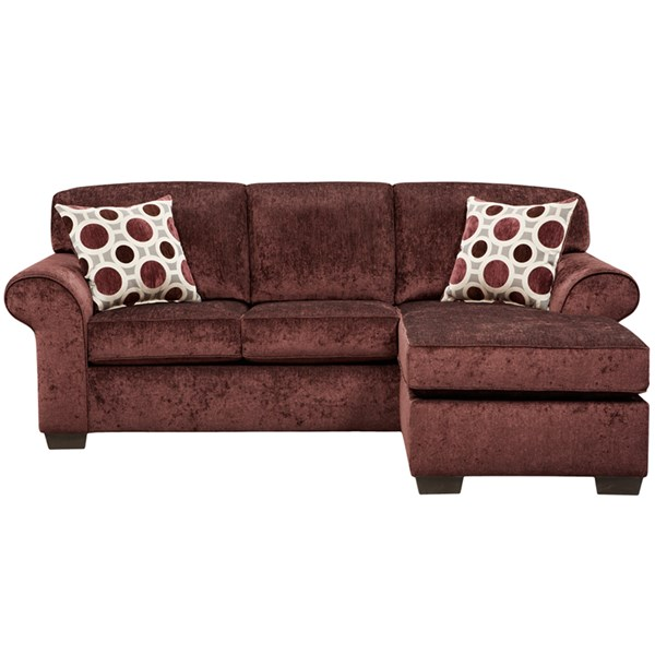 Elderberry Berry Microfiber Polyester Wood Sofa Chaise FLF-5303PRISMELDERBERRY-SOFCH-GG