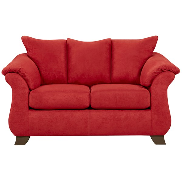 Sensations Red Microfiber Polyester Wood Brick Loveseat FLF-6702SENSATIONSREDBRICK-GG