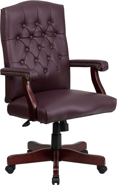 Flash Furniture Martha Washington Burgundy Leather Executive Swivel Chair FLF-801L-LF0019-BY-LEA-GG