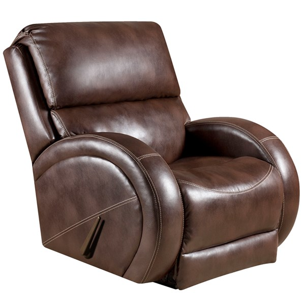 Loggins Contemporary Brown Leather Steel Wood Leather Rocker Recliner FLF-AM-9490-8570-GG