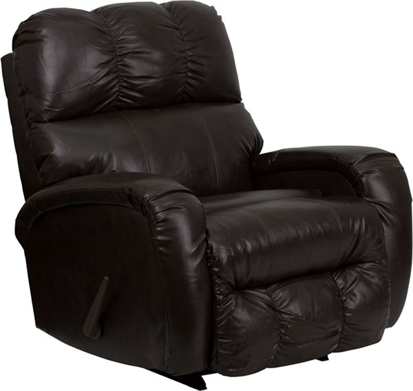 Contemporary Brown Leather Steel Wood Chaise Rocker Recliner FLF-AM-9850-9070-GG