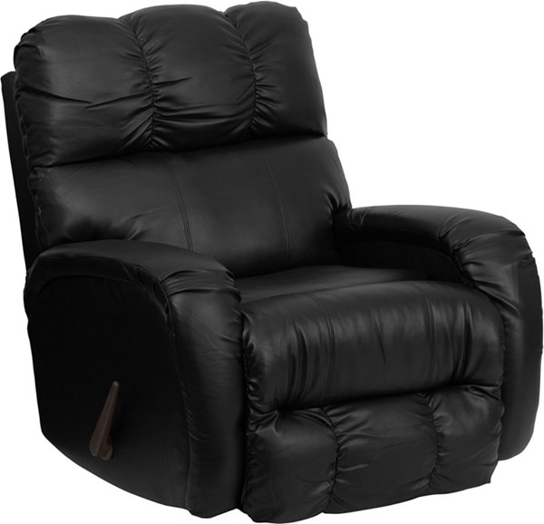 Bentley Black Leather Chaise Rocker Recliner